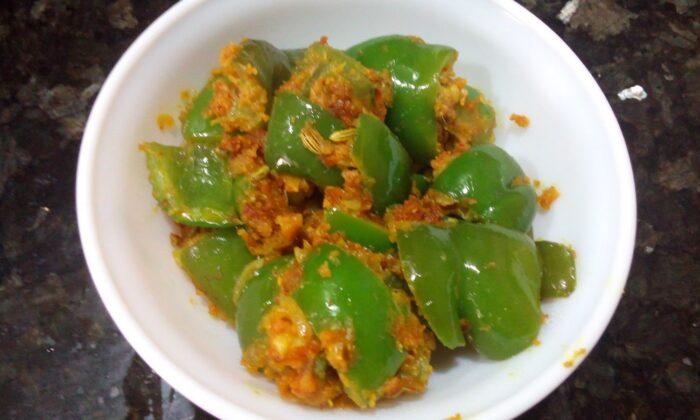 बेसन के संग शिमलामिर्च का स्वाद ( gramflour and capsicum food )
