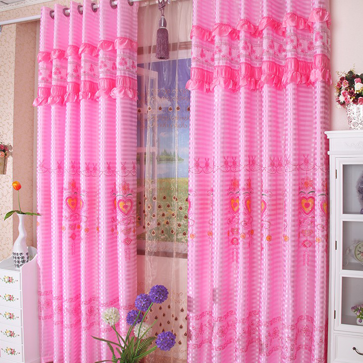 stunning-pink-lace-embossed-bedroom-curtains-for-marriage-two-panels-c1736