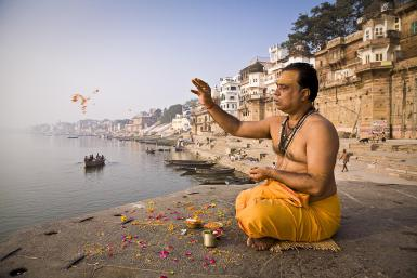 Brahmin priest in prayer and meditation
