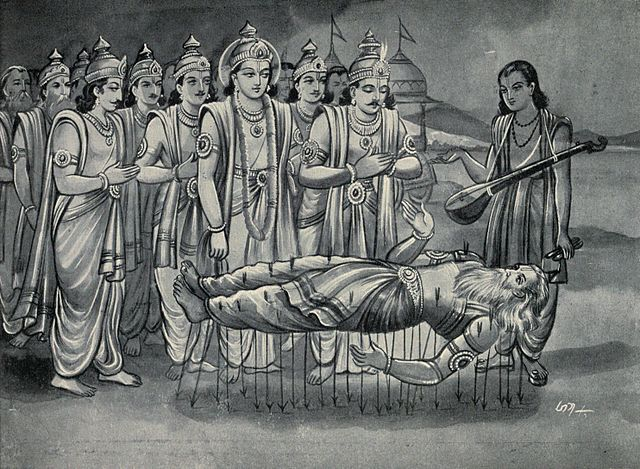 Krishna_and_Pandavas_along_with_Narada_converse_with_Bhishma_who_is_on_bed_of_Arrows