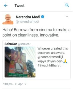 modi re tweet sahucar tweet related to swachh bharat abhiyan