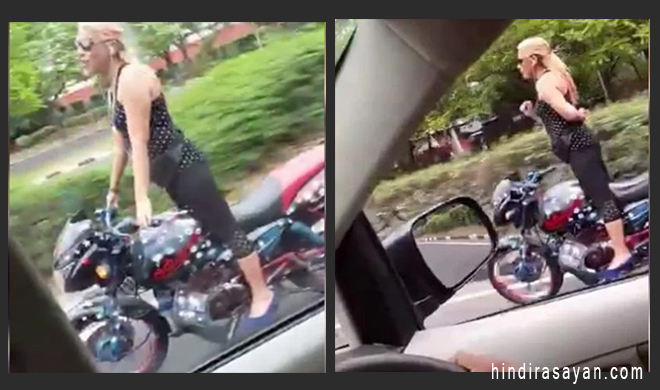 girl doing horrible bike stunt on chandigarh road