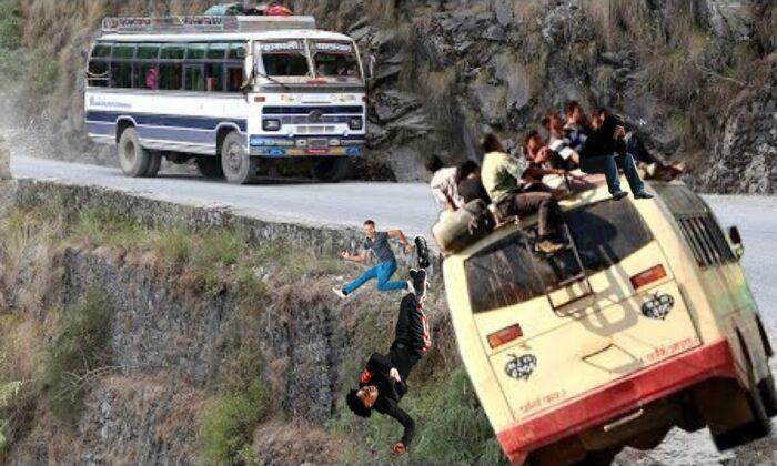 देखिए वीडियो : नेपाल में यात्री जान हथेली पर लेकर यात्राये करते है ! ( most dangerous roads in nepal )