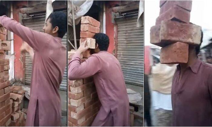 वीडियो: पाकिस्तान के शख्स का दांतों से हैरान कर देने वाला स्टंट ! ( pakistani boy lift up 6 bricks with his teeth video going viral on social media )