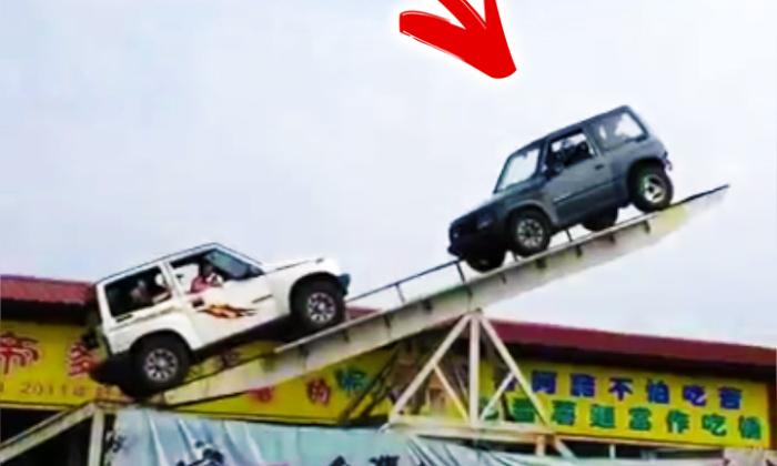 सवारियों से भरी झूला झूलती गाड़ियों का ये खतरनाक स्टंट शायद ही आपने कभी देखा हों ( the dangerous stunts of swinging seesaw suv cars hardly have you ever seen )