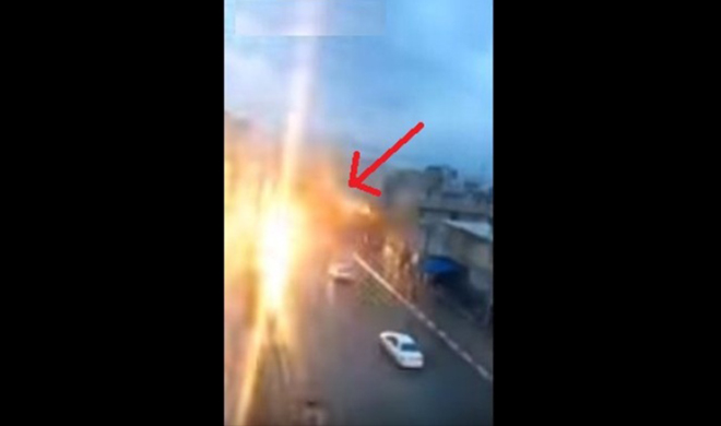lightning fall from the sky on car and burn car bonnet