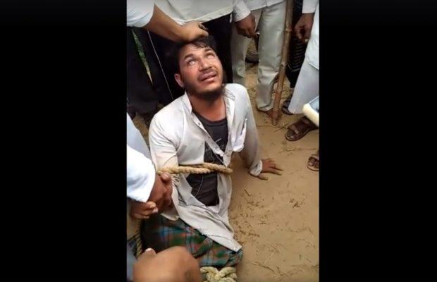 दिमागी रूप से कमजोर मुस्लिम युवक को, भीड़ ने जमकर पीटा वीडियो हुआ वायरल ( in the wake of women haircut rumor a muslim man beaten by crowd )