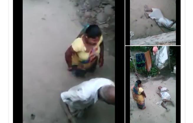 महिला ने घर के बुजुर्ग को लात घूसों से पीटा और बरसाई लाठी, वीडियो वायरल ( viral video woman brutally beaten an old man )