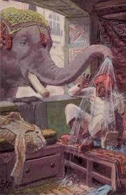सूंड में भरा कीचड़ दर्जी के ऊपर फेकता हाथी