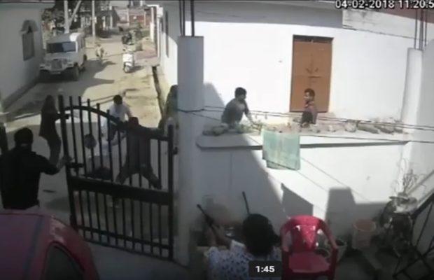 वीडियो : पति की रक्षा के लियें पत्नी ने गोलियां चलाकर बदमाशो को खदेड़ा ( viral video attack on journalist abid ali in kakori lucknow watch cctv )