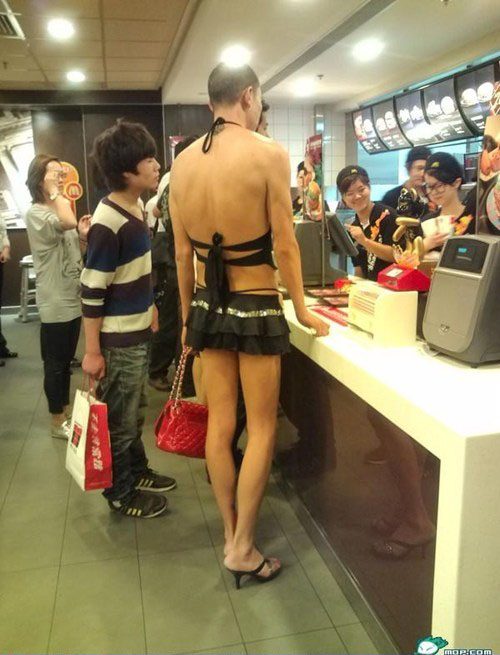 man wear lady dress funny
