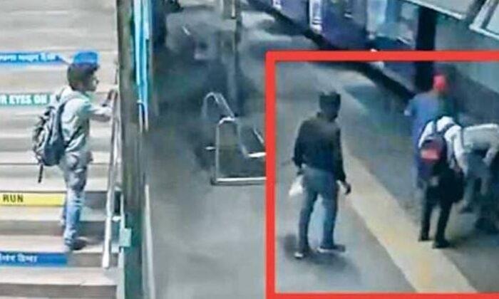 एक शख्स तेज रफ्तार ट्रेन के नीचे जा गिरा, आगे जो हुआ वीडियो में देखे ( viral video railway protection force personnel saves a boy from falling under a moving train at naigaon railway station in mumbai )