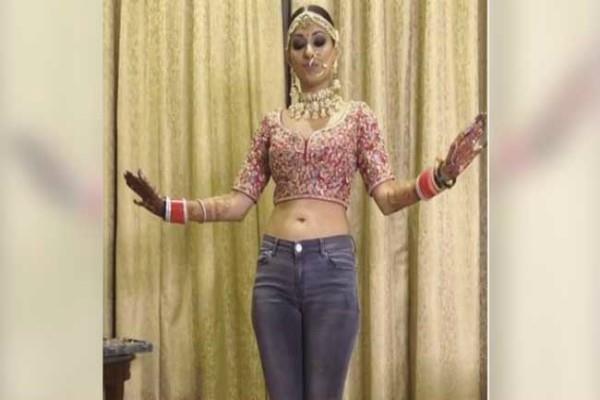 दुल्हन ने अपनी ही शादी में जीन्स-चोली पहन, किया जबरदस्त भांगड़ा :वीडियो ( viral video cool bride to be you must have seen brides dancing )