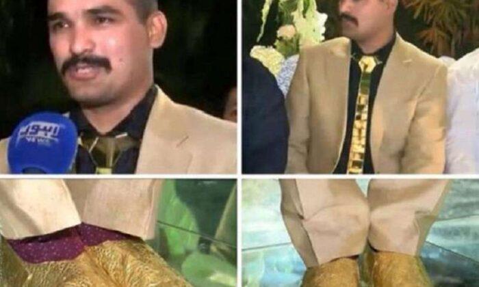 सोने के जूते और टाई पहन, दूल्हे ने रचाई शादी ( groom with golden tie and shoes )