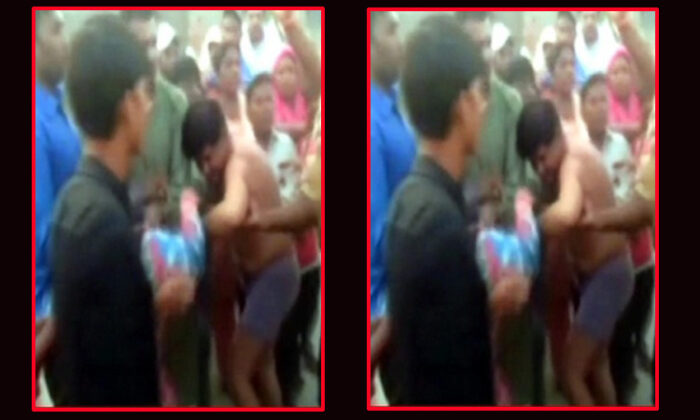 manager-of-yamunanagars-shani-mandir-temples-committee-beaten-uphis-clothes-torn-by-people