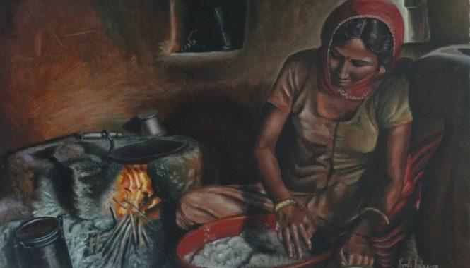woman preparing for making roti