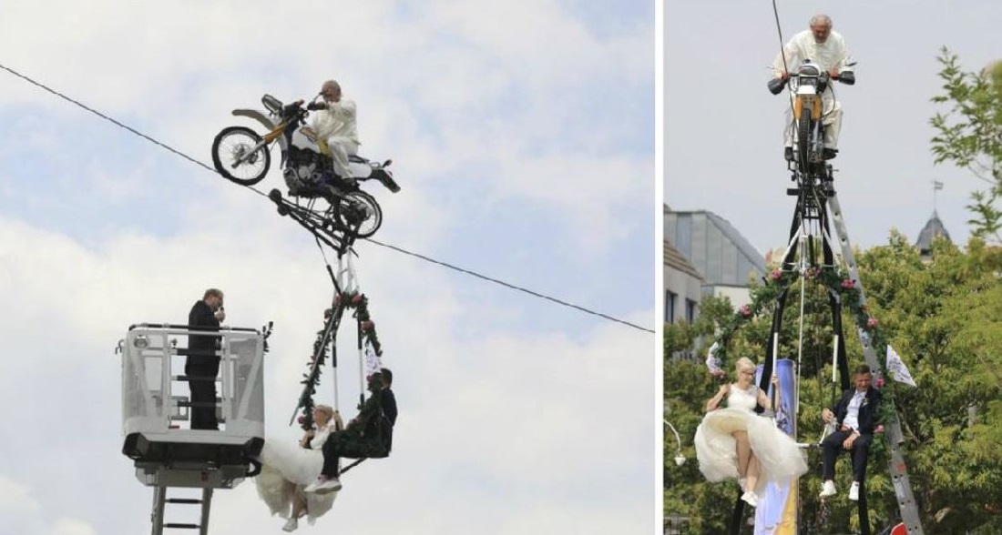 german couple married in tightrope wedding