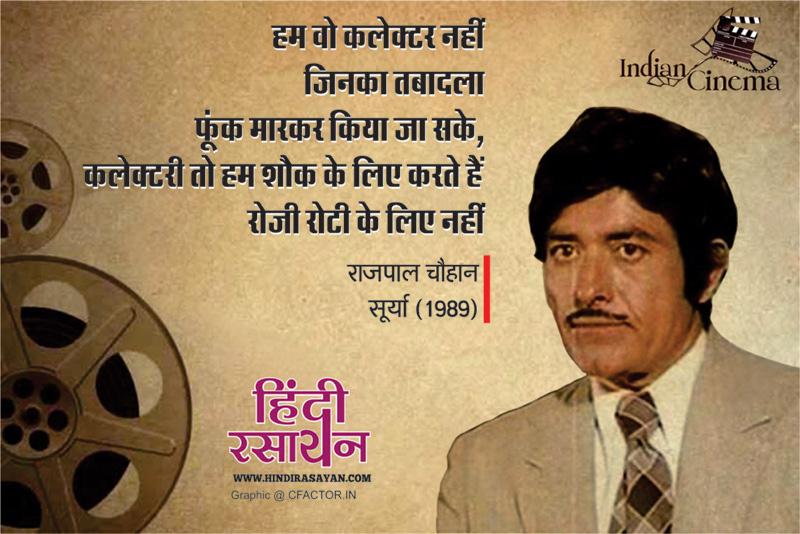 Famous RaajKumar Hindi Dialogues_06 hum wo collector nhi jinka tabadla foonk maarkar kiya jaa sake,collectri to hum sauk ke liye karte hain , rozi roti ke liye nhi film surya 1989 हम वो कलेक्टर नही जिनका तबादला फूंक मारकर किया जा सके,कलेक्टरी तो हम शौक के लिए करते हैं रोजी रोटी के लिए नहीं