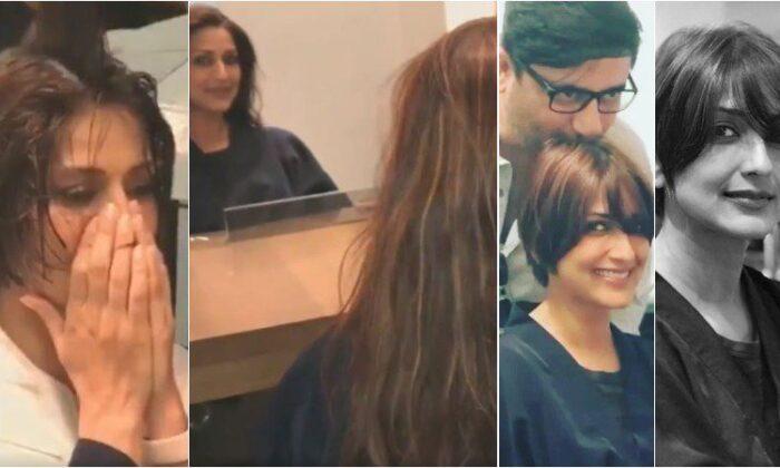कैंसर के बाद ऐसी हो गई सोनाली बेंद्रे, वीडियो में देखें ( bollywood actor sonali bender gets a haircut viral vidieo )